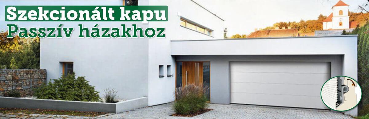 Szekcionált garázskapuk passzív házakhoz